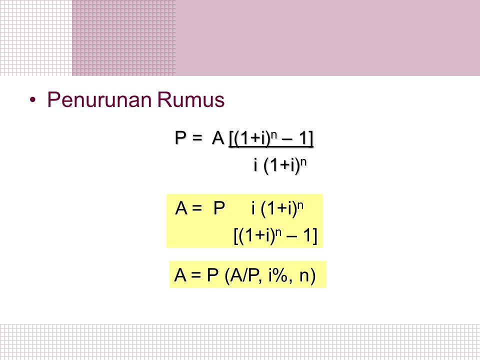 Penurunan Rumus P = A [(1+i)n – 1] i (1+i)n A = P i (1+i)n